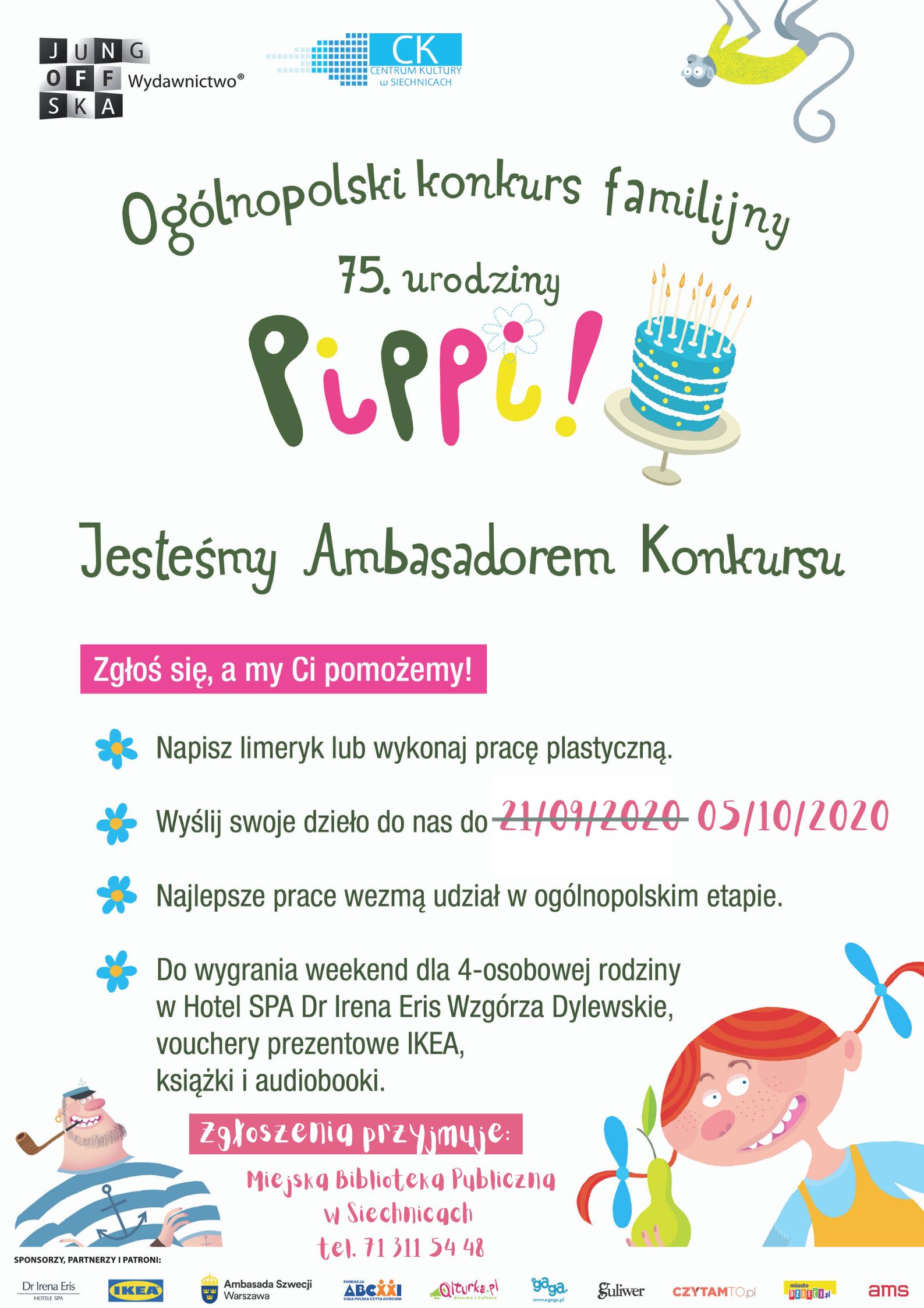 Na plakacie widoczne są kolorowe ilustracje z książki Pippi Pończoszanka oraz informacje o konkursie z okazji urodzin Pippi