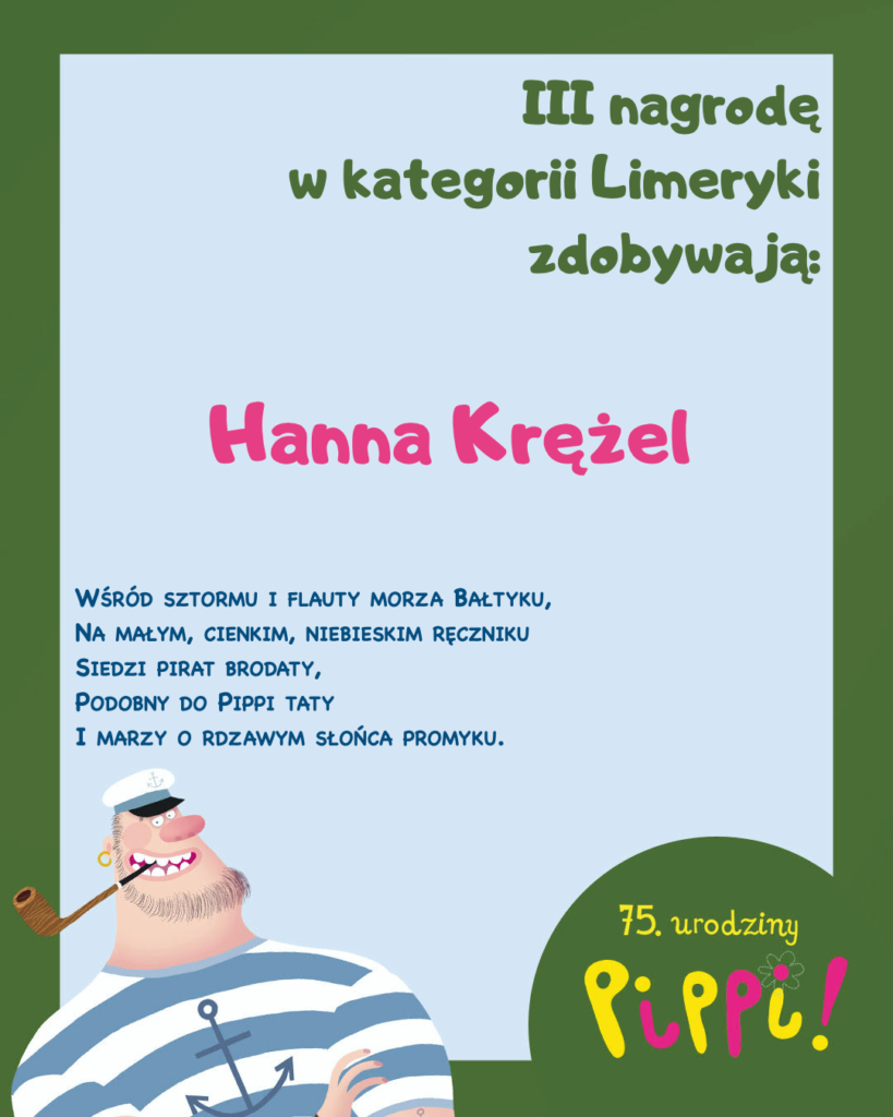 Informacja o zajęciu trzeciego miejsca Hanny Krężel