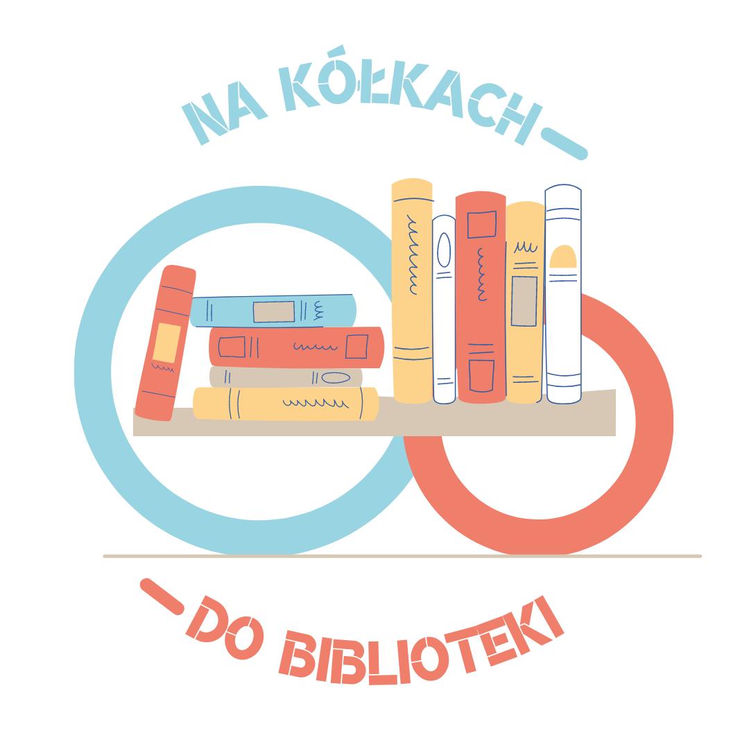 """Rysunek książek na półkach, umiejscowionych na kółkach. U góry zaokrąglony napis """"Na kółkach"""", na dole wklęsły napis """"do biblioteki""""."""