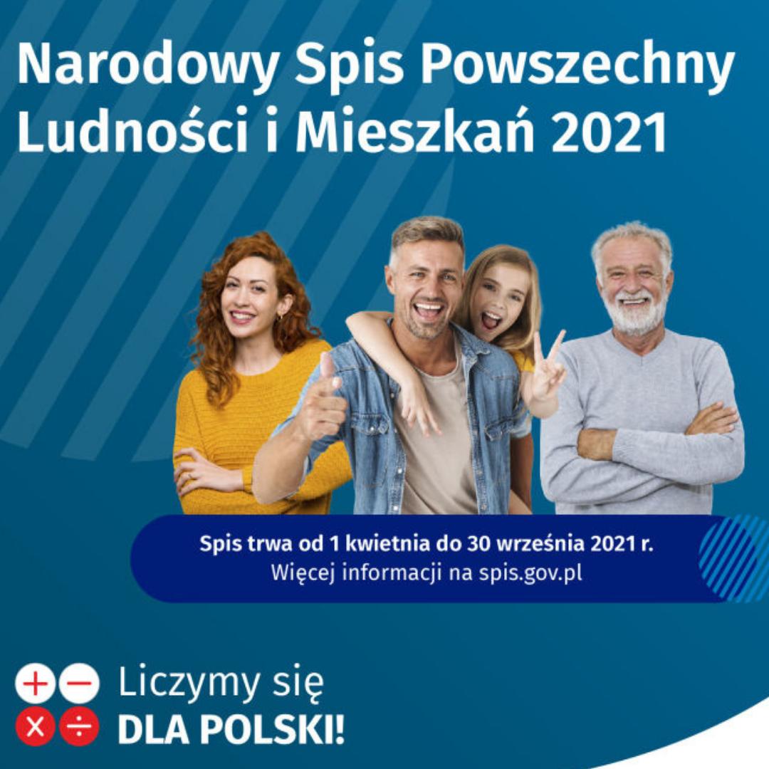 Grafika Narodowego Spisu Powszechnego, na niebieskim tle cztery zadowolone, uśmiechnięte osoby, na dole napis: Liczymy się dla Polski