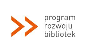 logo Programu Rozwoju Bibliotek. Dwie pomarańczowe strzałki skierowane w prawo i napis z nazwą.