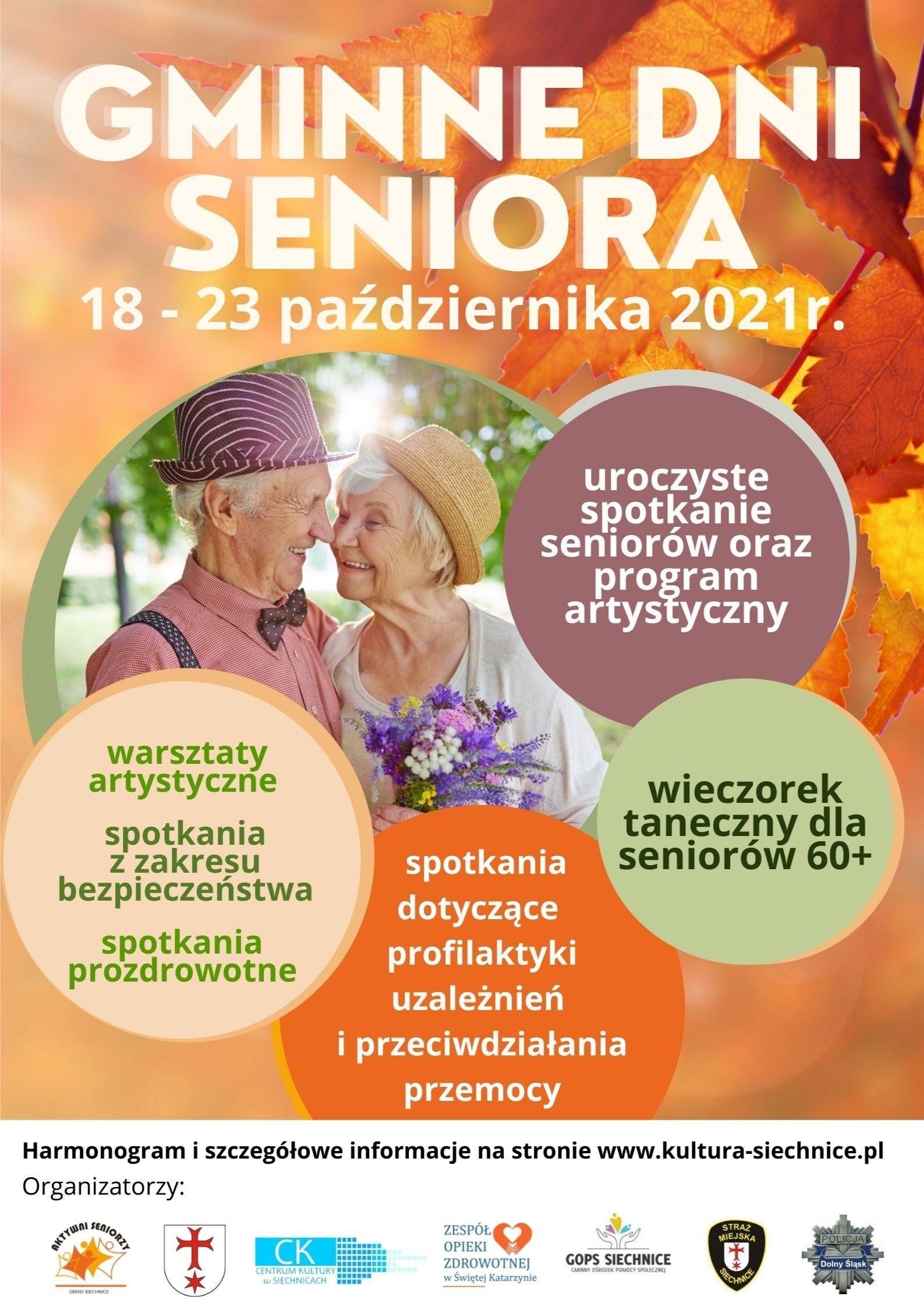 Plakat na Gminne Dni Seniora 18 - 23 października