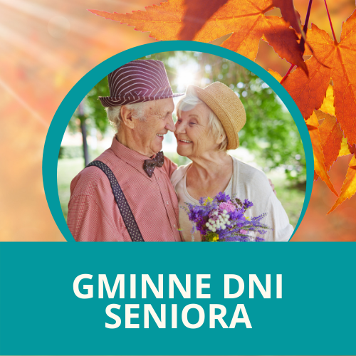 Gminne Dni Seniora, dwoje starszych ludzi, kobieta i mężczyzna uśmiechnięci