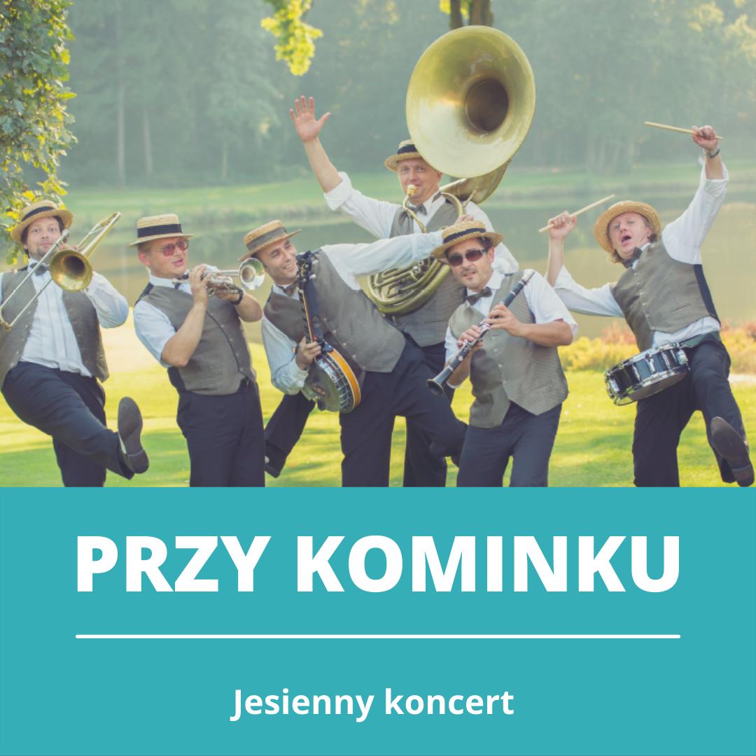 Przy kominku, koncert jesienny. Zespół mężczyzn z instrumentami i w kapeluszach.